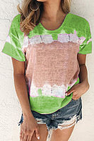 Round Neck Colouring Short Sleeve T-shirt