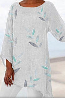 Irregular 3/4 Sleeve Round Neck Leaf Print Top