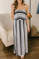 Spaghetti Strap  Striped  Sleeveless Maxi Dresses