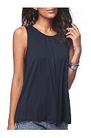 Summer  Cotton  Women  Round Neck  Plain Sleeveless T-Shirts