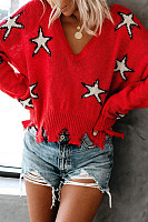 Casual V Neck Long Sleeve Printed Colour Sweaters