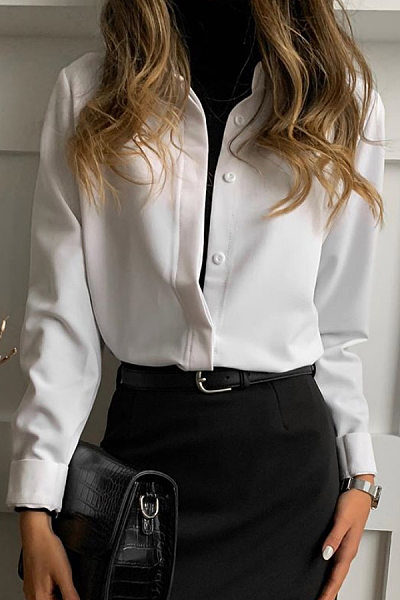 Female fashion solid color lapel long-sleeved blouse