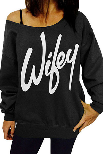 Boat Neck Letter Printed Long Sleeve Sweatshirt