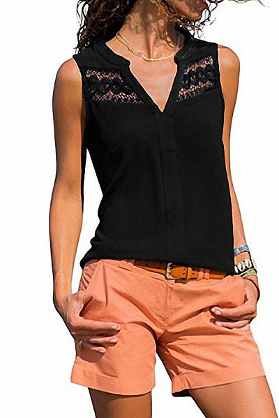 Fashion Round Collar Lace Split Joint Loose Sleeveless Top