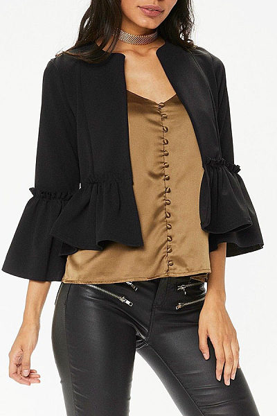 Round Neck  Ruffled Hem  Patchwork Jackets