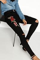 Broken Holes  Floral Jeans