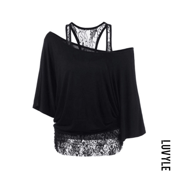 Black One Shoulder Lace Batwing Sleeve T-Shirts Black One Shoulder Lace Batwing Sleeve T-Shirts