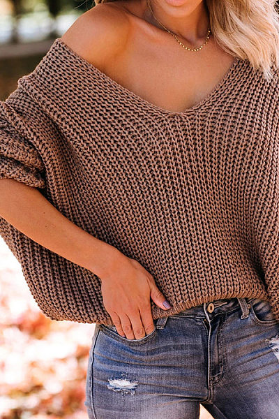 V Neck Batwing Sleeve Plain Sweater