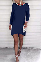 Round Neck  Asymmetric Hem Contrast Trim Casual Dresses