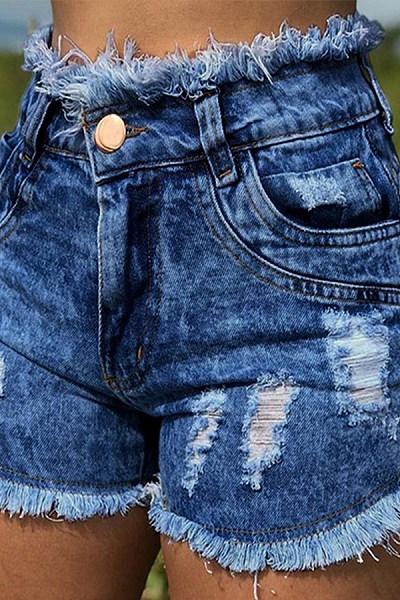 High Waist Broken Holes Chic Denim Shorts