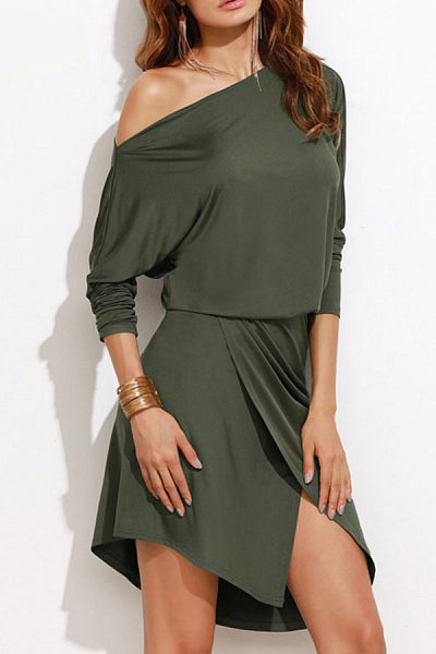 One Shoulder  Asymmetric Hem Slit  Plain  Batwing Sleeve  Long Sleeve Skater Dresses