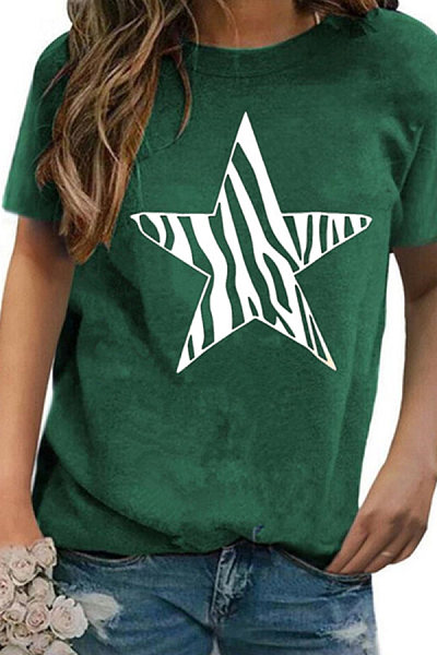 Round Neck Star Short Sleeve T-shirt