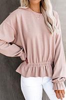 Autumn Round Neck Waist Long Sleeve Sweater Shirt Bottom Shirt Shirt Women's Clothing