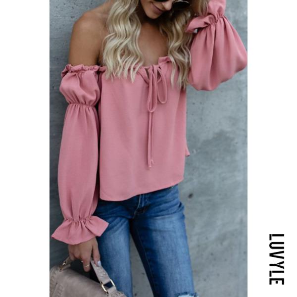 Pink Off Shoulder Backless Plain Lantern Sleeve T-Shirts Pink Off Shoulder Backless Plain Lantern Sleeve T-Shirts