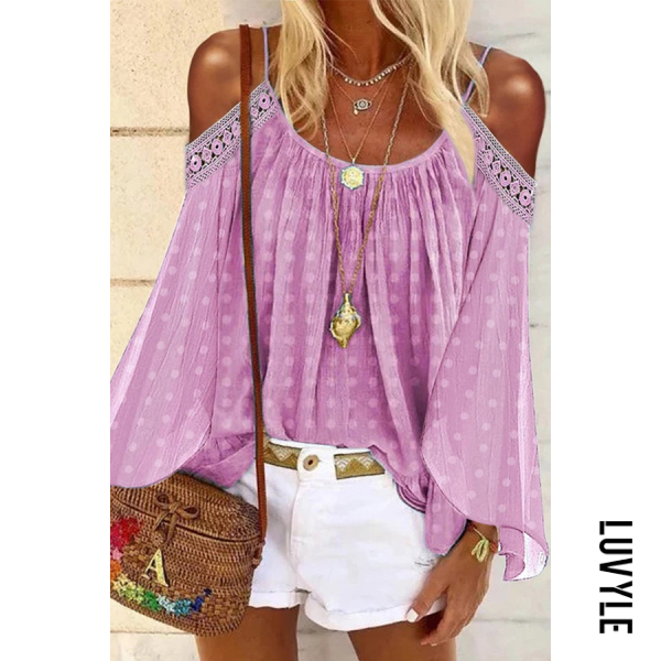 Pink Sexy Solid Color Lace Off Shoulder T-Shirt Pink Sexy Solid Color Lace Off Shoulder T-Shirt