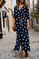 A Lapel Long Sleeve Polka Dot Maxi Dress