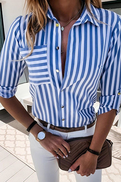 Casual Women's Pullable Striped Shirt