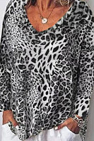 Casual Leopard Print Loose Long Sleeve T-Shirt