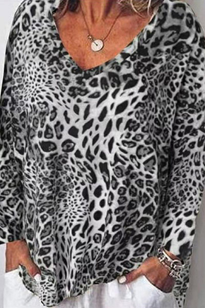 Casual Leopard Print Loose Long Sleeve T-Shirt