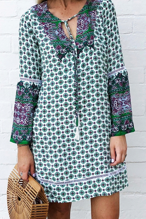 Hippy Vibes, Bohemian Loose Mini Dress with long sleeves
