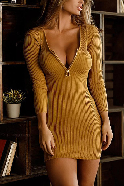 Deep V Neck  Plain  Long Sleeve Bodycon Dresses