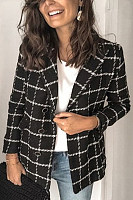Classic check suit collar long sleeves blazer