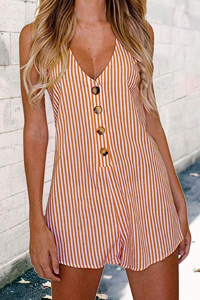 Deep V Neck  Decorative Buttons  Striped  Sleeveless  Playsuits