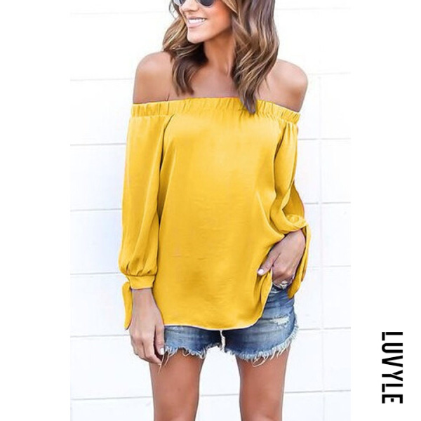 Yellow Off Shoulder Smocked Bodice T-shirts Yellow Off Shoulder Smocked Bodice T-shirts