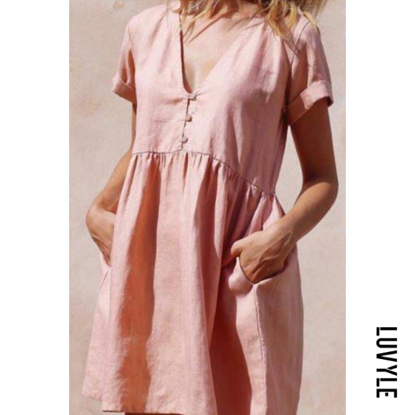 Pink V Neck Decorative Buttons Casual Dresses Pink V Neck Decorative Buttons Casual Dresses
