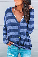V Neck Stripes Long Sleeve Button T-Shirts