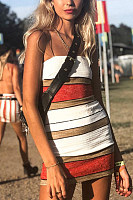 Strapless  Striped  Sleeveless  Sexy Bodycon Dresses