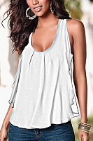 Round neck sleeveless solid color T-shirt