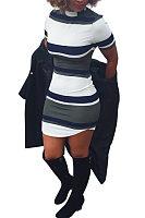 High Neck  Asymmetric Hem  Striped  Short Sleeve Bodycon Dresses