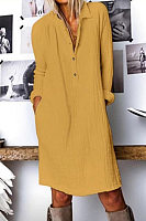 A Lapel Long Sleeve  Cotton And Linen Dress