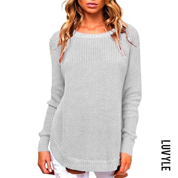 Round Neck Curvy Hem Plain Sweater - from $29.00