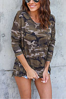 Side Slit  Camouflage T-Shirts