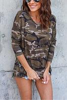 Side Slit  Camouflage T-Shirts