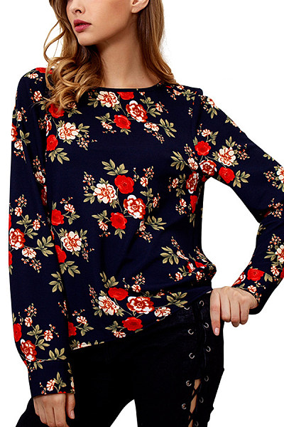 Round Neck  Zipper  Floral Printed T-Shirts