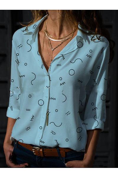 Summer Fashion V-Neck Long Sleeve Printed Shirt
