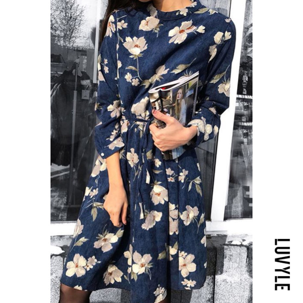 Round Neck Long Sleeve Printed Maxi Dress