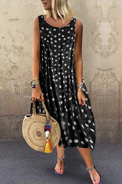 Bohemian Polka Dot Round Neck Sleeveless Dress