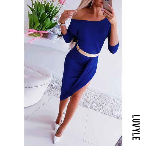 Blue Sexy Solid Color One-Shoulder Slim Dress Blue Sexy Solid Color One-Shoulder Slim Dress