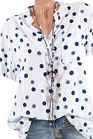 Band Collar  Loose Fitting  Dot Blouse