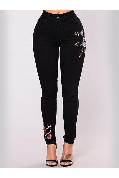 Embroidery Patch Pocket Slim-Leg Jeans