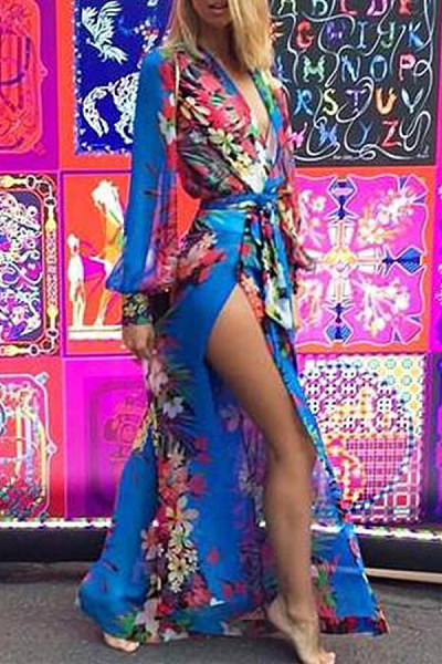 Deep V Neck  Asymmetric Hem Loose Fitting  Belt  Floral Printed Maxi Dresses