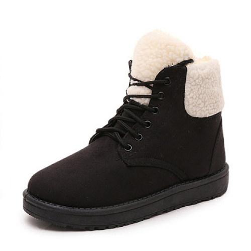 Plain  Flat  Faux Suede  Criss Cross  Casual Boots