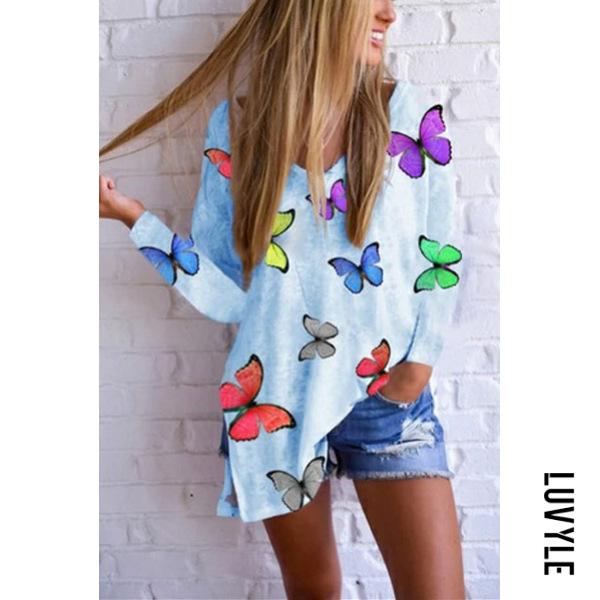 Butterfly Print V-neck Long Sleeve T-shirt