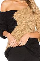 V Neck  Patchwork  Basic Sweaters