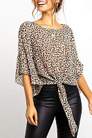 Casual Round Neck Leopard Long-Sleeved Tie Short T-Shirt