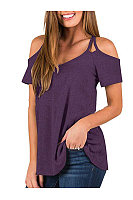 Casual V-Neck Off-The-Shoulder Short-Sleeved T-Shirt